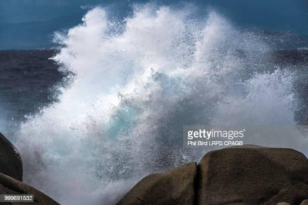 Waves Pounding the Coastline at Capo Testa Sardinia