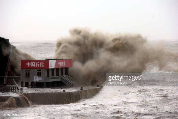 Waves slam into the shore at Shitang Town as Typhoon Maria approaches China mainland on July 11, 2018 in Taizhou, Zhejiang Province of China. Typhoon...