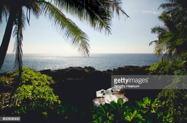 waves splash under a natural bridge of lava rock; ocean beyond - timothy hearsum ストックフォトと画像