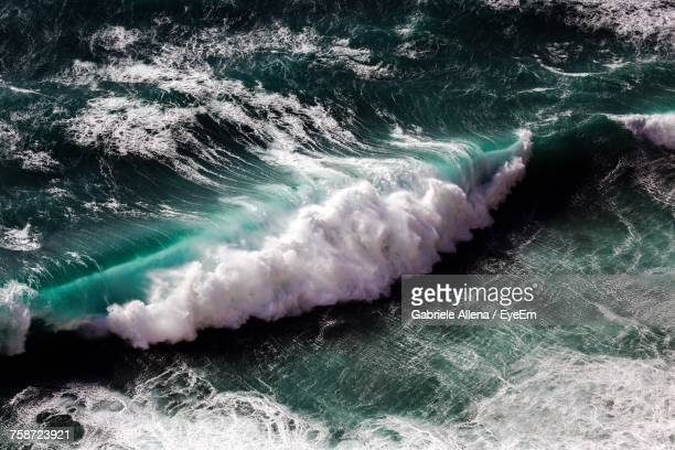 Waves Splashing On Sea