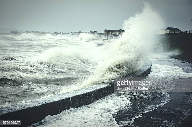Waves Splashing On Shore During Storm