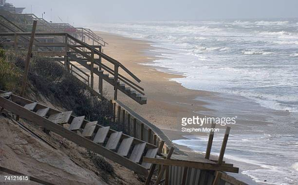 Waves wash up on beach front property eroded by Subtropical Storm Andrea May 10 2007 in South Ponte Vedra Beach Florida Andrea is the first named...