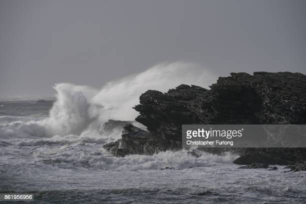 Waves whipped up by the wind of Hurricane Ophelia crash against the rocks on October 16 2017 in Holyhead Wales Hurricane Ophelia comes exactly 30...