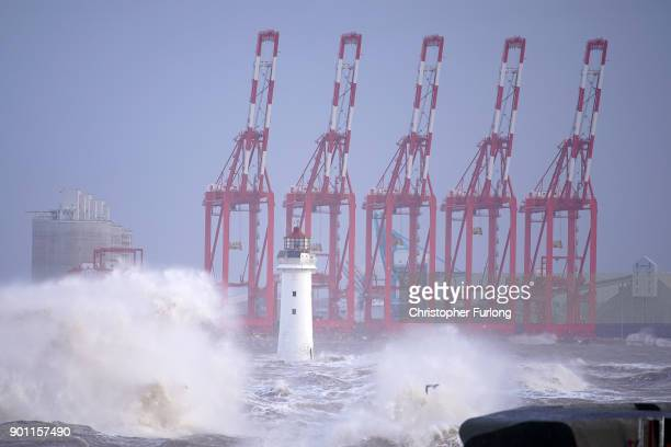 Waves whipped up by the wind of Storm Eleanor lash against the sea wall on January 03 2018 in New Brighton United Kingdom Overnight Storm Eleanor...