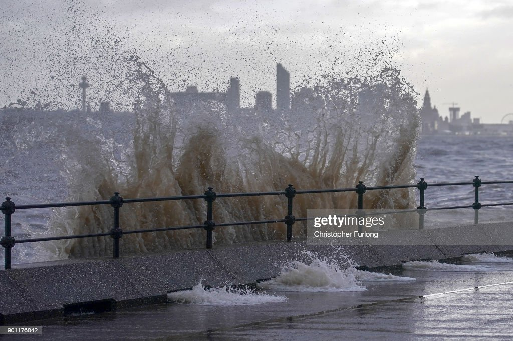 Waves whipped up by the wind of Storm Eleanor lash against the sea wall on January 03, 2018 in New Brighton, United Kingdom. Overnight Storm Eleanor brought 70-100mph gusts and torrential rain to some parts of the UK and Ireland creating floods and cutting electricity supplies in some areas. A yellow warning by the Met Office is still in force.