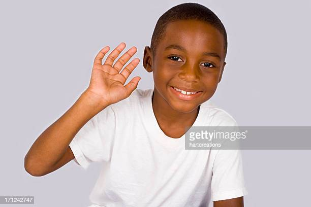 waving boy - handsome black boy stock photos and pictures