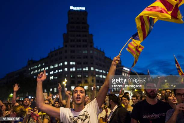 Waving Catalan flags and shouting here at national Spanish broadcast TVE crew massive crowd rally to demand the release of imprisoned Catalan leaders...