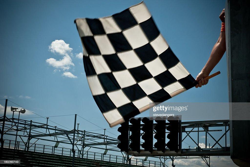 Waving Checkered Flag : Stock Photo