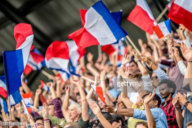 agitant des drapeaux français - french football photos et images de collection