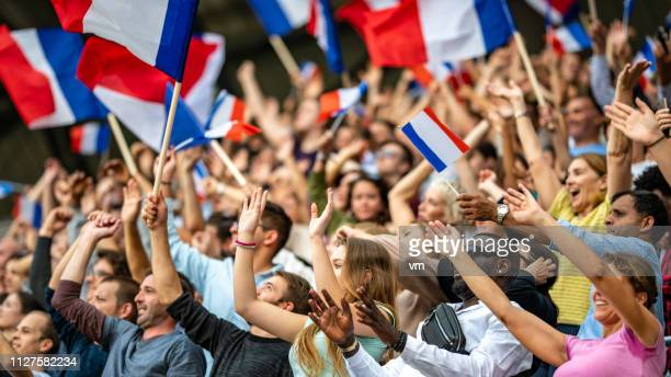 waving french flags - france stock pictures, royalty-free photos & images