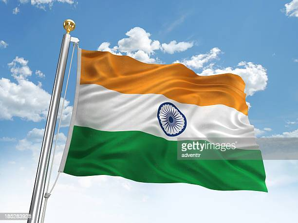waving india flag - indian flag stock pictures, royalty-free photos & images