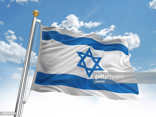 waving israel flag - israel independence day stock pictures, royalty-free photos & images