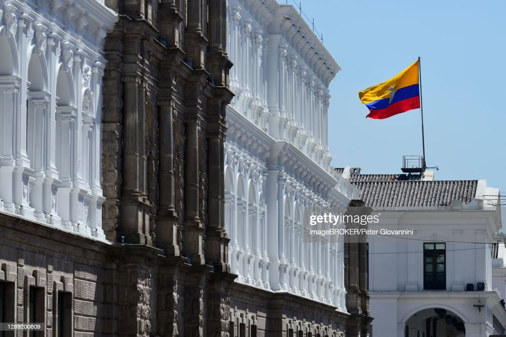 Waving national flag over the seat of government Palacio de Carondelet, Quito, Pichincha Province, Ecuador : Stock Photo