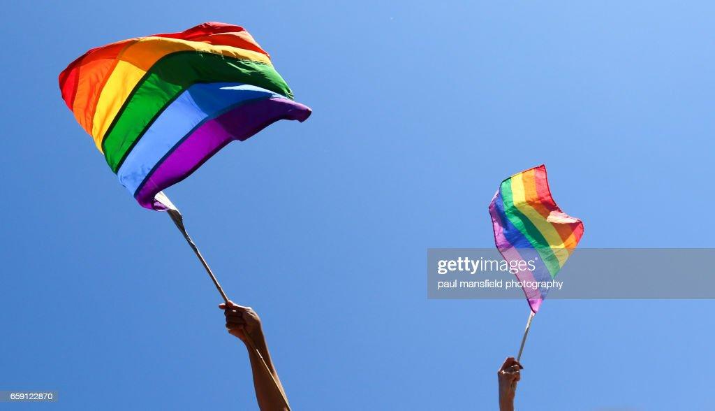 Waving rainbow flags : ストックフォト