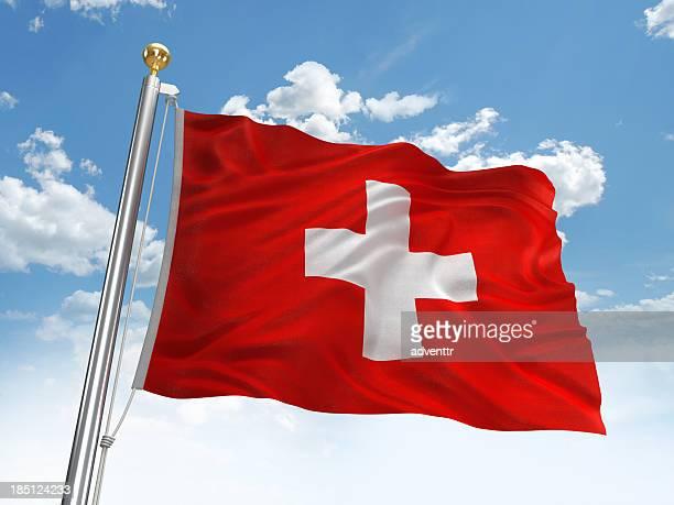 Schweiz Flagge Winken