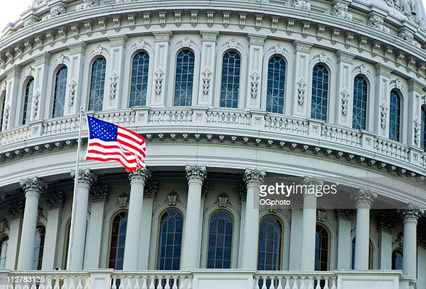 waving us flag in front of the capitol building - ogphoto stock pictures, royalty-free photos & images