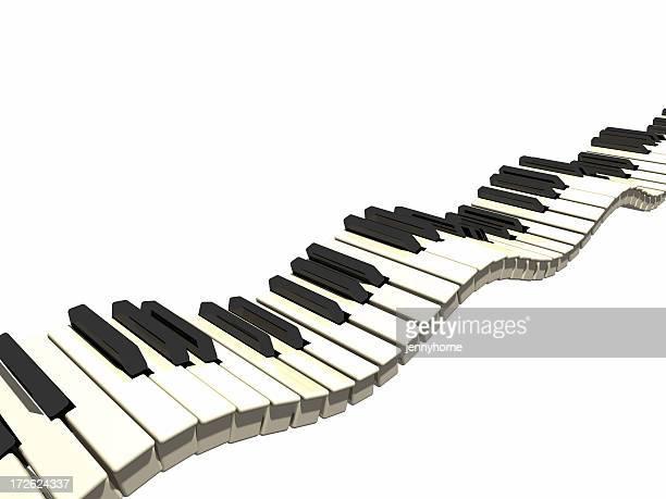 波型キーボード - ピアノの鍵盤 ストックフォトと画像