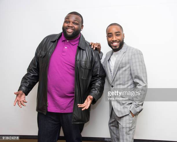 Wavyy Jonez and Marcc Rose at the 'Unsolved The Murders of Tupac and the Notorious BIG' Press Conference at the Four Seasons Hotel on February 12...
