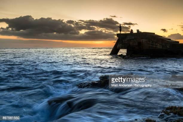wawaloli beach park sunset #3 - kona coast stock photos and pictures