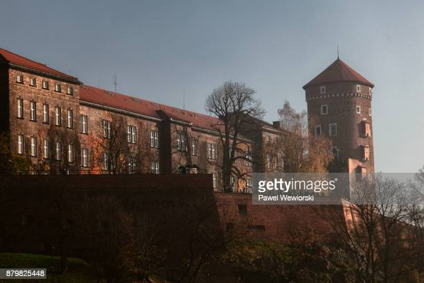 Wawel Castle facade and walls in morning