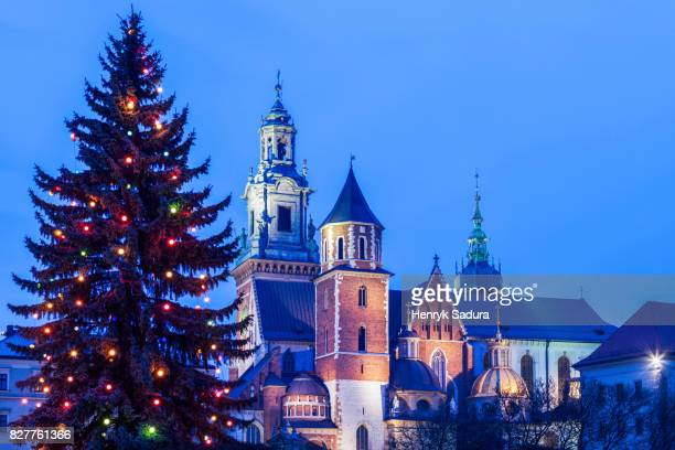wawel cathedral during christmas - wawel cathedral stock pictures, royalty-free photos & images