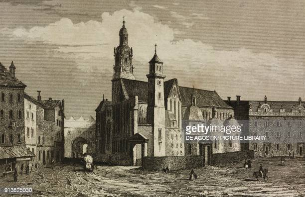 Wawel Cathedral Krakow Poland engraving by Lemaitre and Dumouza from Pologne by Charles Foster L'Univers pittoresque Europe published by Firmin Didot...