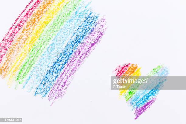 wax crayon hand drawing heart rainbow background on white paper - crayon stock pictures, royalty-free photos & images