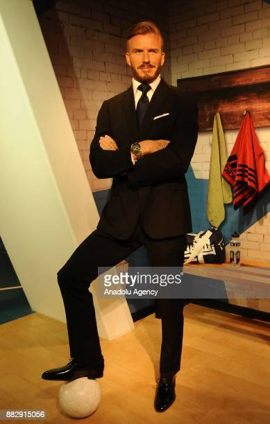 A wax figure former professional footballer David Beckham is seen during the press preview of the Madame Tussauds Wax Museum in New Delhi India on...