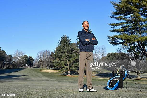ROCKVILLE MD DECEMBER 20 A wax figure from Madame Tussauds of US president Barack Obama is seen at the Norbeck Country Club on December 20 2016 in...