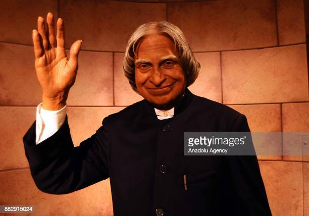 A wax figure Indian Former President Dr APJ Abdul Kalam is seen during the press preview of the Madame Tussauds Wax Museum in New Delhi India on...