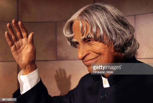 A wax figure of A P J Abdul Kalam 11th President of India displayed at Madame Tussauds Wax Museum at Connaught Place on October 24 2017 in New Delhi...