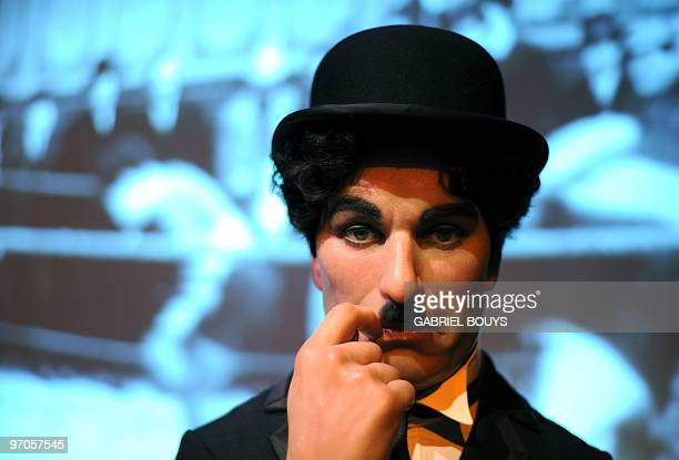 A wax figure of actor Charlie Chaplin is seen at 'The celebrity Awards Hall' exhibition at Madame Tussauds in Hollywood California on February 25...