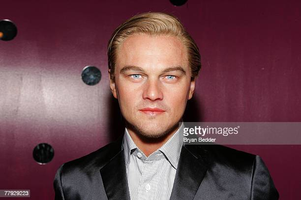 A wax figure of actor Leonardo DiCaprio appears on display at Madame Tussauds New York November 15 2007 in New York City