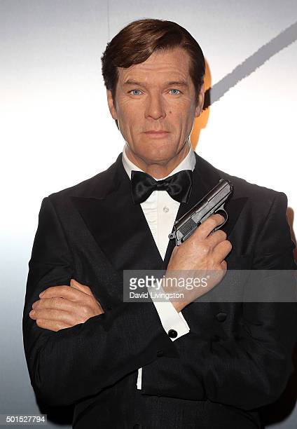 Wax figure of actor Roger Moore is seen at Madame Tussauds Hollywood reveal of all six James Bonds in wax with special guest George Lazenby at Madame...