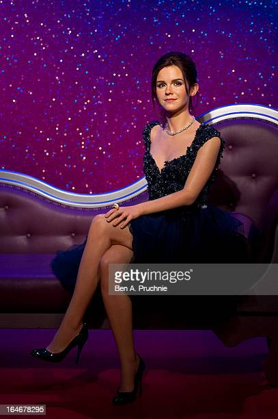 A wax figure of actress Emma Watson is unveiled at Madame Tussauds on March 26 2013 in London England