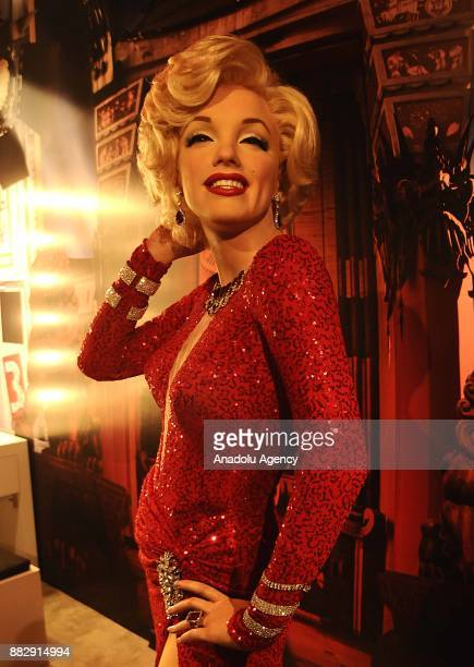 A wax figure of American actress model and singer Marilyn Monroe is seen during the press preview of the Madame Tussauds Wax Museum in New Delhi...