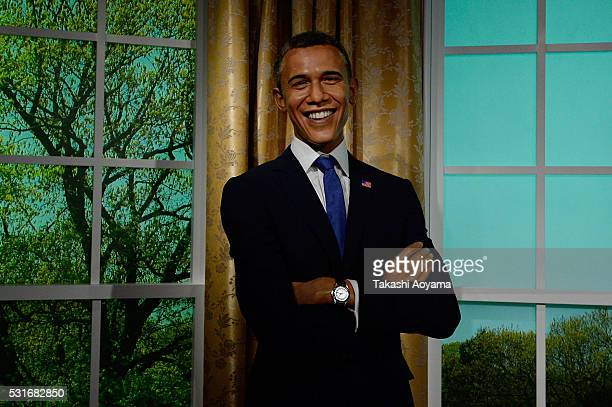 A wax figure of American president Barack Obama is displayed at the Madame Tussauds Tokyo on May 16 2016 in Tokyo Japan Madame Tussauds wax museum in...