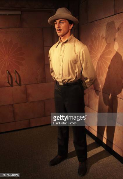 A wax figure of Bhagat Singh displayed at Madame Tussauds Wax Museum at Connaught Place on October 24 2017 in New Delhi Located in the heart of the...