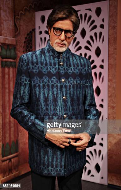 A wax figure of Bollywood actor Amitabh Bachchan displayed at Madame Tussauds Wax Museum at Connaught Place on October 24 2017 in New Delhi Located...