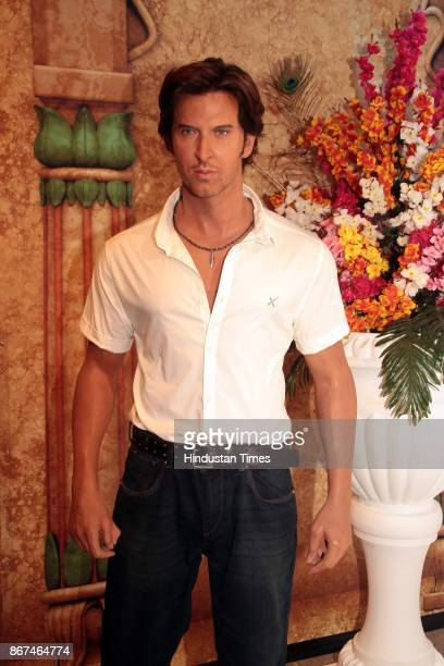 A wax figure of Bollywood actor Hrithik Roshan displayed at Madame Tussauds Wax Museum at Connaught Place on October 24 2017 in New Delhi Located in...