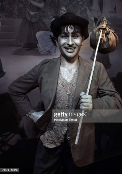 A wax figure of Bollywood actor Raj Kapoor displayed at Madame Tussauds Wax Museum at Connaught Place on October 24 2017 in New Delhi Located in the...
