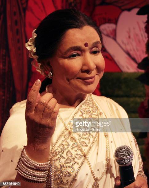 A wax figure of Bollywood singer Asha Bhosle displayed at Madame Tussauds Wax Museum at Connaught Place on October 24 2017 in New Delhi Located in...