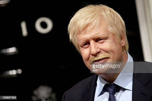 A wax figure of British Mayor of London Boris Johnson with an added moustache is displayed at Madame Tussauds in London on November 7 2012 in support...