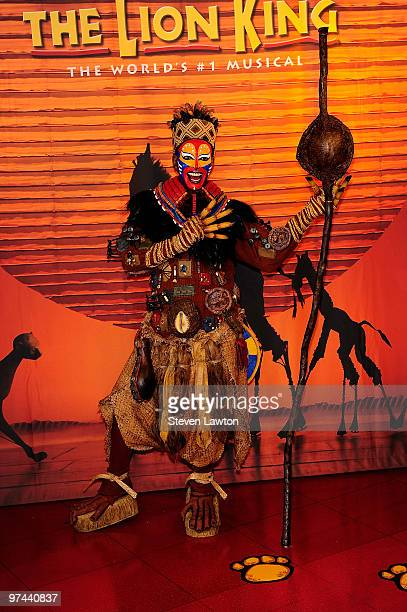Wax figure of Buyi Zama who plays the role of Rafiki in Disney's musical production 'The Lion King' at Madame Tussauds Las Vegas at the Venetian...