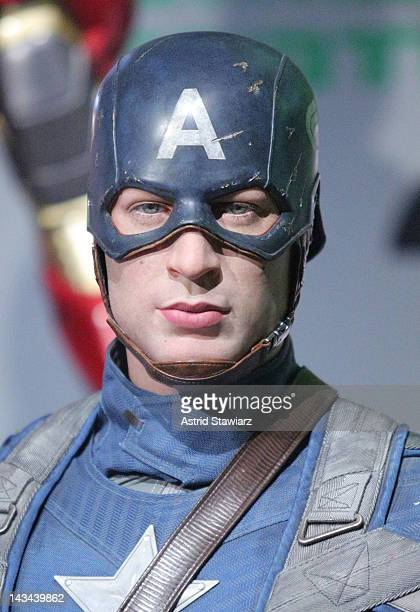 A wax figure of Captain America as portrayed by actor Chris Evans appears at the Madame Tussauds New York's Interactive Marvel Super Hero Experience...