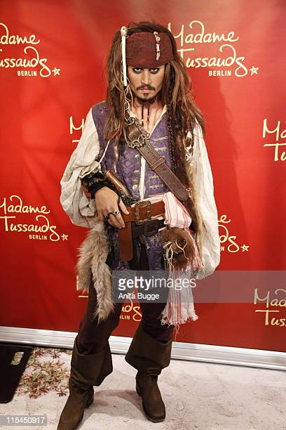 A wax figure of Captain Jack Sparrow aka Johnny Depp has been unveiled at Madame Tussauds on May 12 2011 in Berlin Germany