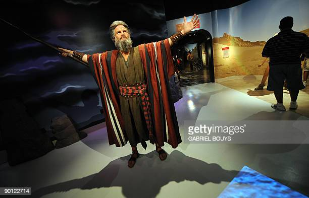 A wax figure of Charlton Heston portraying Moses is seen at Madame Tussauds in Hollywood California on August 27 2009 Marie Tussaud born Anna Maria...