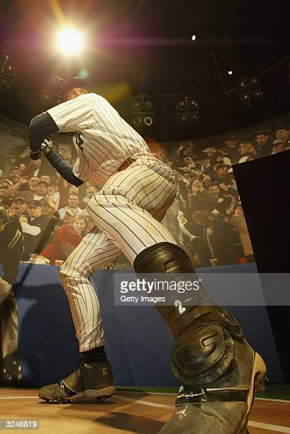 A wax figure of Derek Jeter is seen at the launch of a new interactive experience featuring Derek Jeter at Madame Tussauds April 7 2004 in New York...