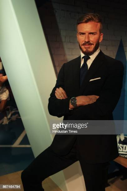 A wax figure of English former professional footballer David Beckham displayed at Madame Tussauds Wax Museum at Connaught Place on October 24 2017 in...