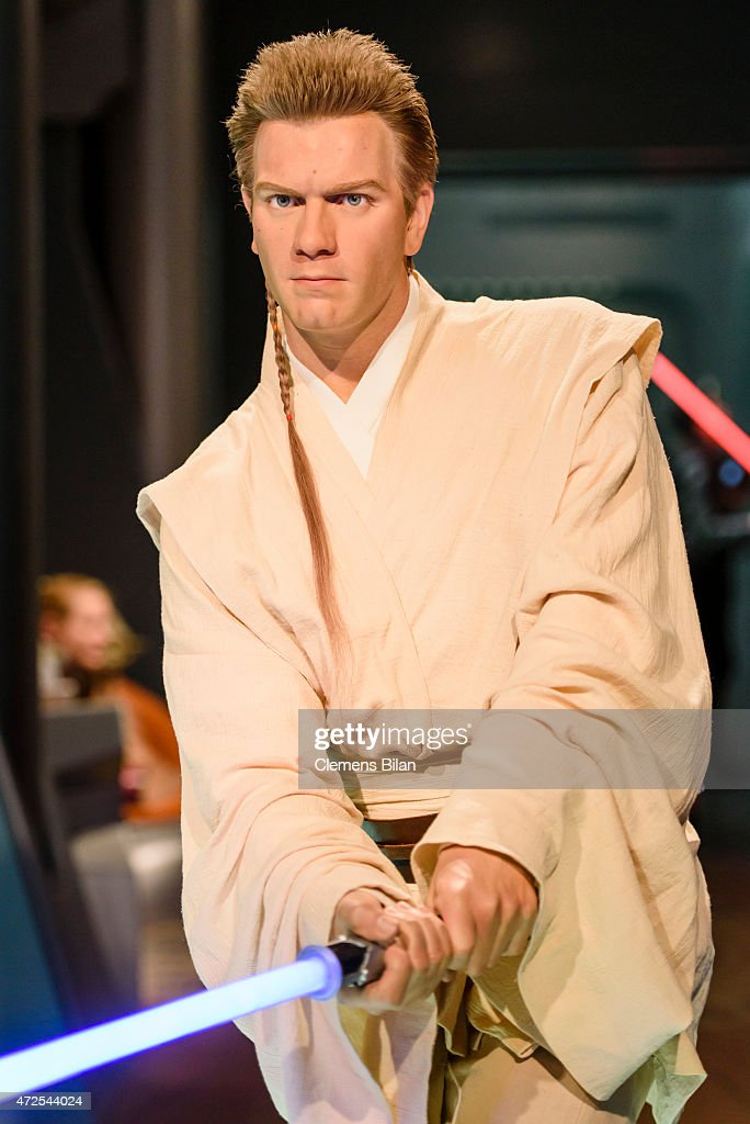 A wax figure of Ewan McGregor as the Star Wars character Obi-Wan Kenobi is displayed on the occasion of Madame Tussauds Berlin Presents New Star Wars Wax Figures at Madame Tussauds on May 8, 2015 in Berlin, Germany.